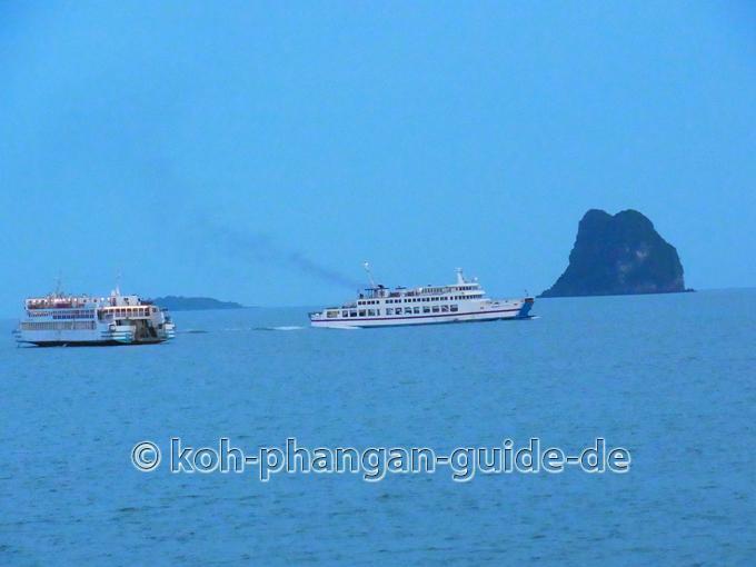Schiffsverkehr ab Donsak nach Koh Smaui und Koh Phangan.