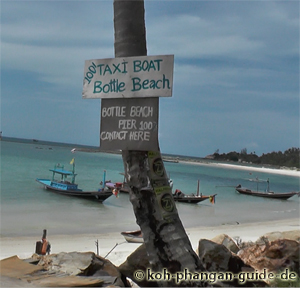 Taxi Boat zum Bottle Beach.